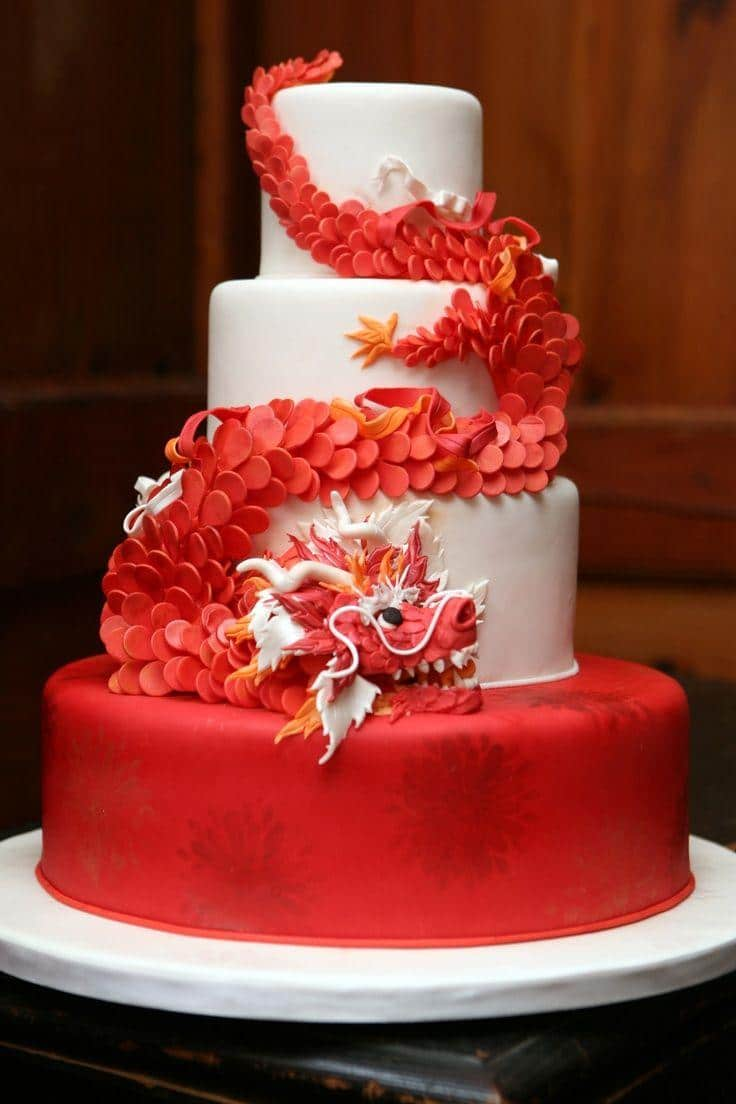 Chinese wedding cake - with red dragon