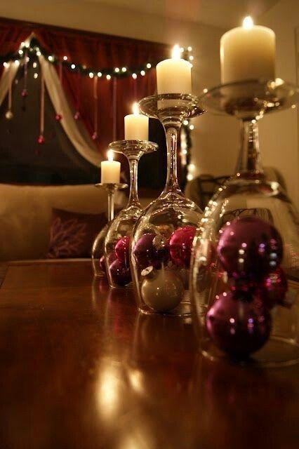 Christmas Eve DIY candleholders - made of turned upside down glasses