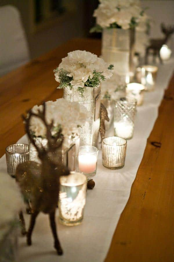 Christmas Eve candles - and flowers on the table