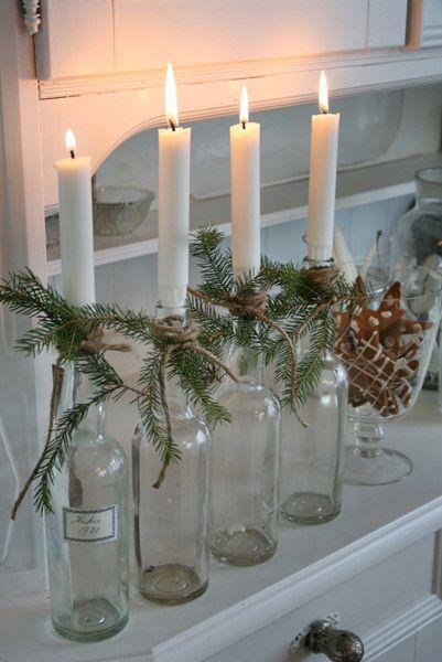 Christmas Eve creative candleholders - created out of empty bottles