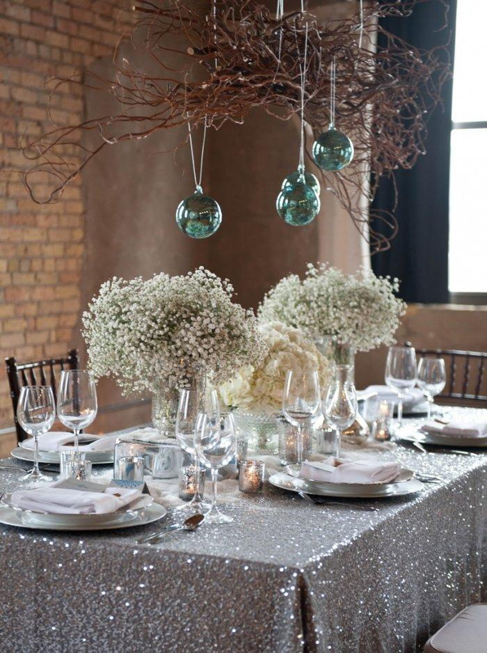 Christmas Eve family table - in silver decorations