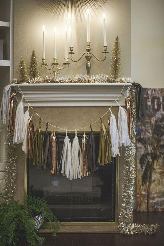 Christmas Eve fireplace - with mantel silver garland