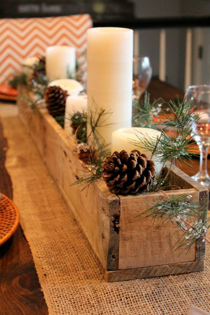 Christmas Eve table centerpiece - with cones and candles