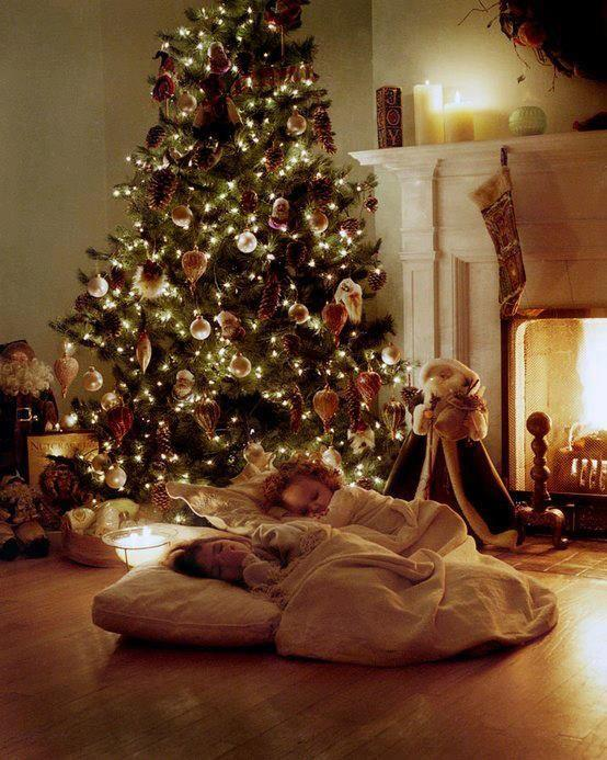 Christmas Eve - with children waiting for Santa Claus
