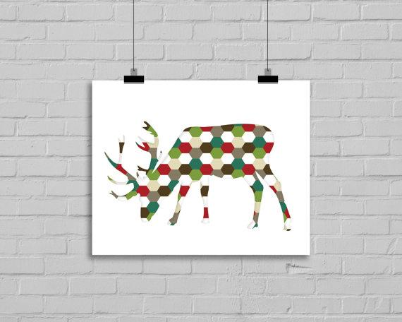 Christmas art deco - graphic deer
