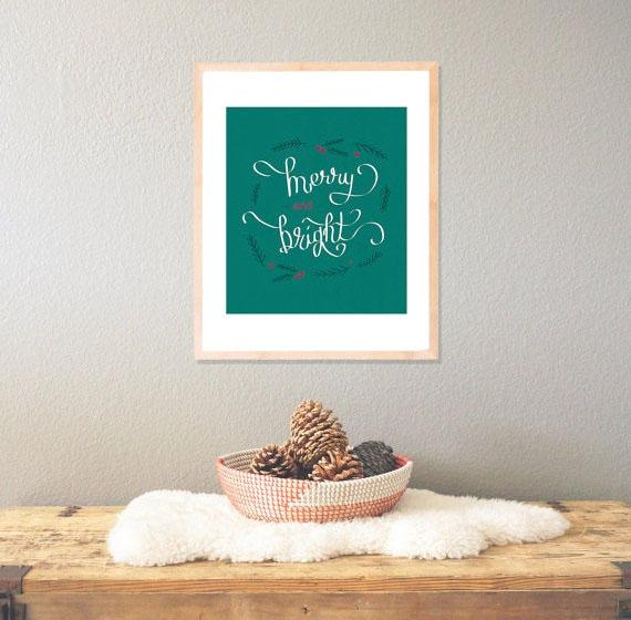 Christmas art decoration - merry and brigth