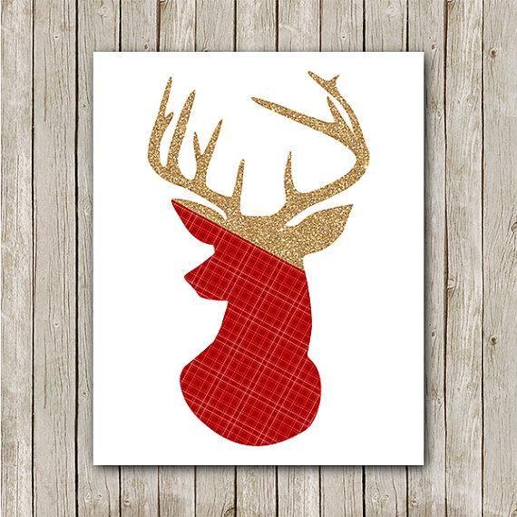 Christmas art deer - with gold horns