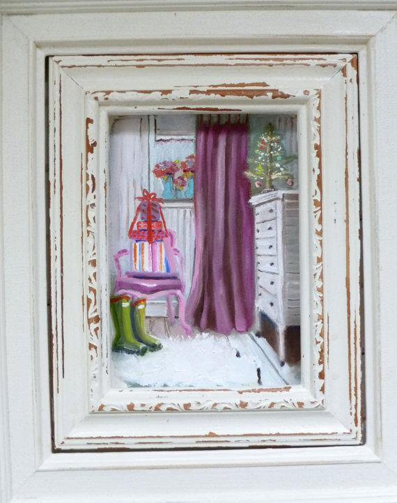 Christmas art frame - with painted drawing