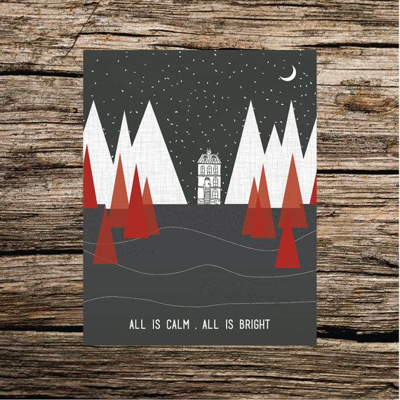 Christmas art invitation - all is calm, all is bright