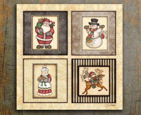 Christmas art snowmen - greeting card