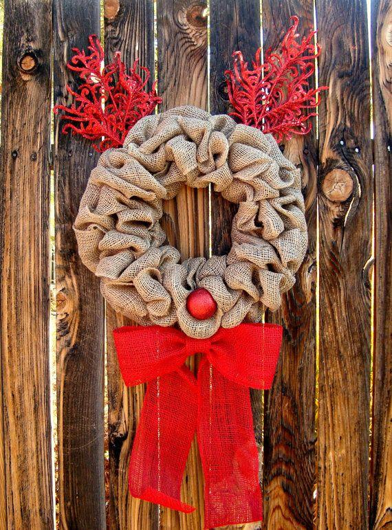 Christmas door wreath 16 - with burlap ribbon