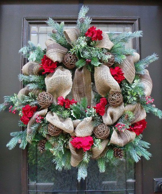 Christmas door wreath 17 - with burlap wrap