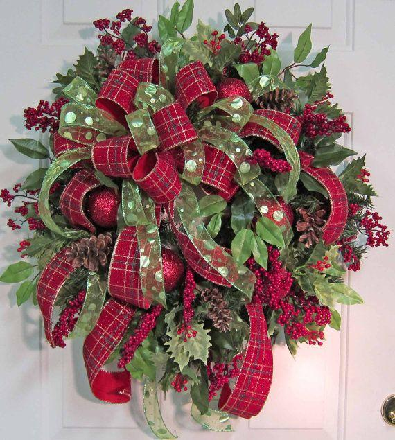 christmas door wreath 18 in red and green color