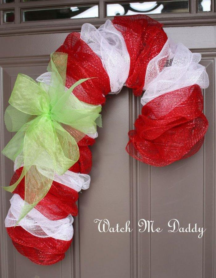 Christmas door wreath 3 - with red and white ribbons