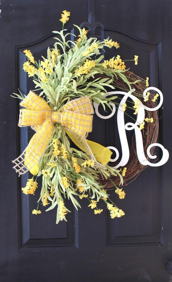 Christmas door wreath 5 - with yellow ribbon