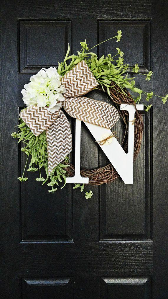 Christmas door wreath 7 - with white and brown ribbon