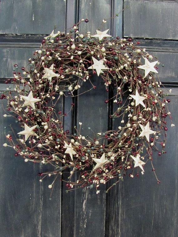 Christmas door wreath - with white stars