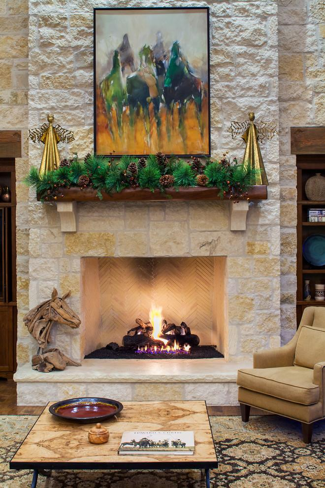 Christmas fireplace 10 - with natural green garland