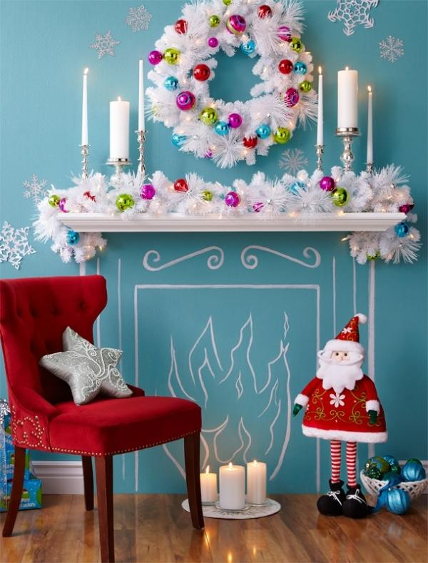 Christmas fireplace 15 - with white holiday garland