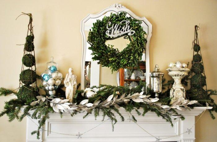 Christmas fireplace 4 - with garland, statues and wreaths