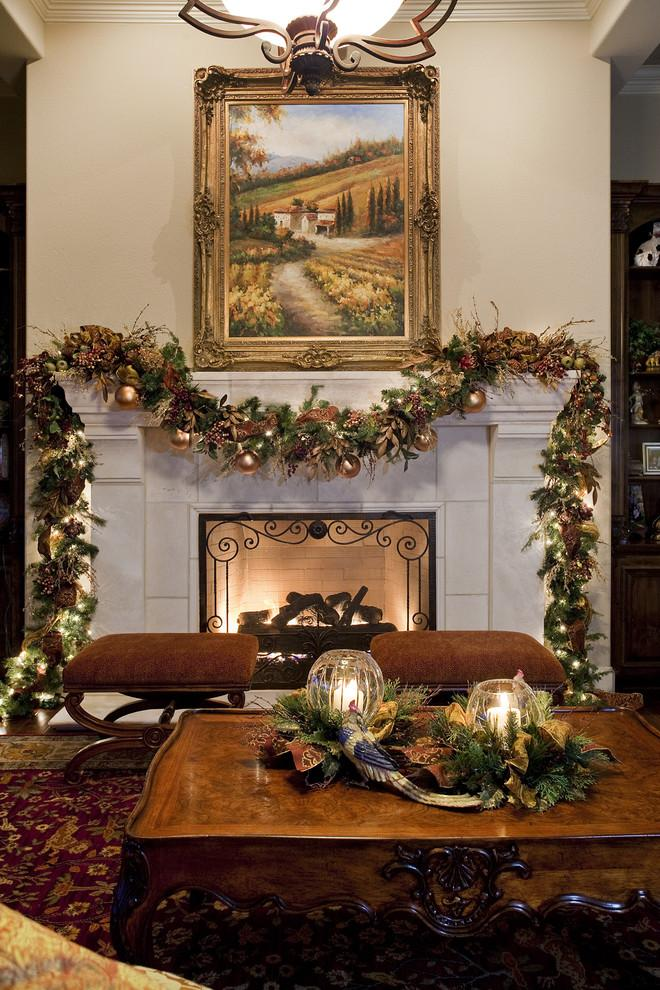 Christmas fireplace garland on the mantel or above for Christmas garland on fireplace