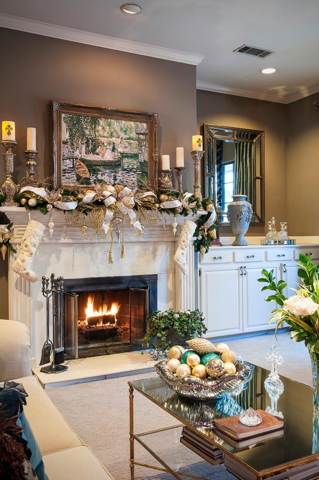 Christmas fireplace 9 - with green and white garland