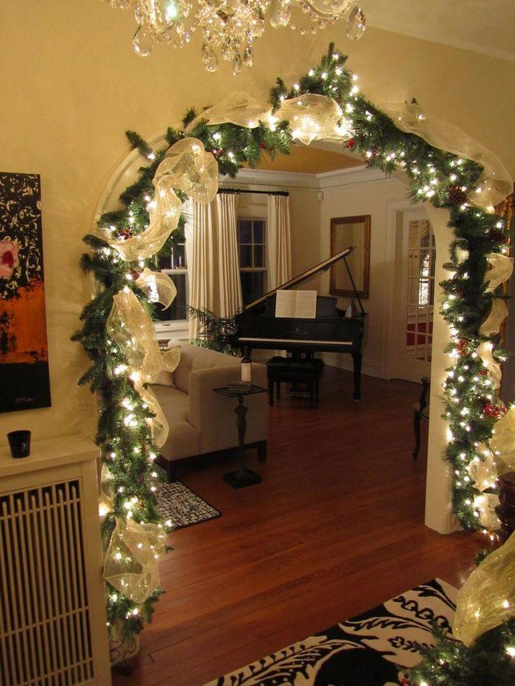 Christmas garland lights - placed at the living room vault