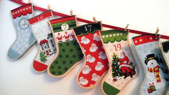 Christmas kids socks - in a row