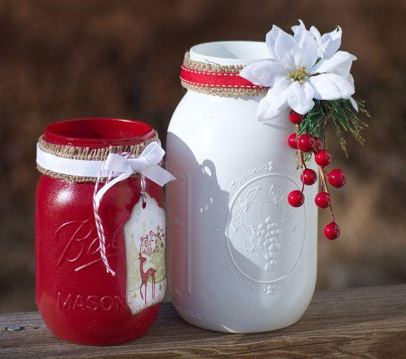 Christmas mason jars 2 - in white and red color