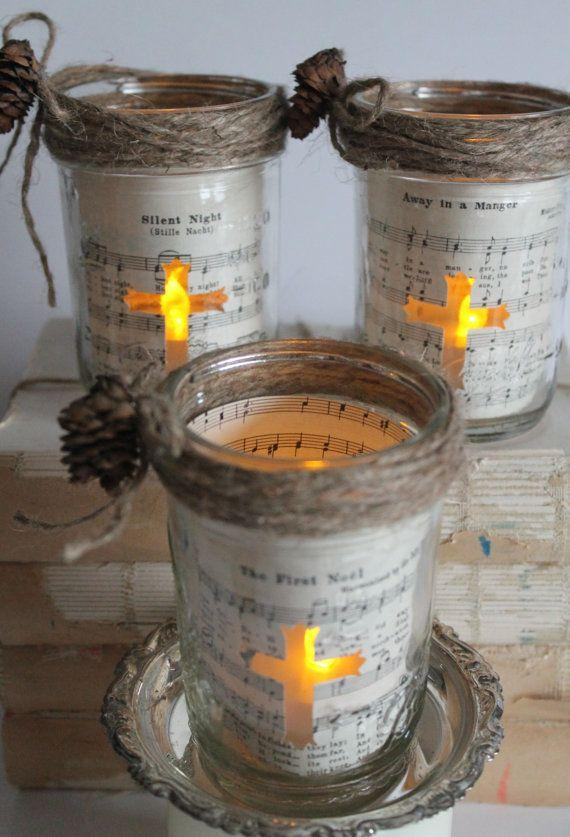 Christmas mason jars - with flame crosses
