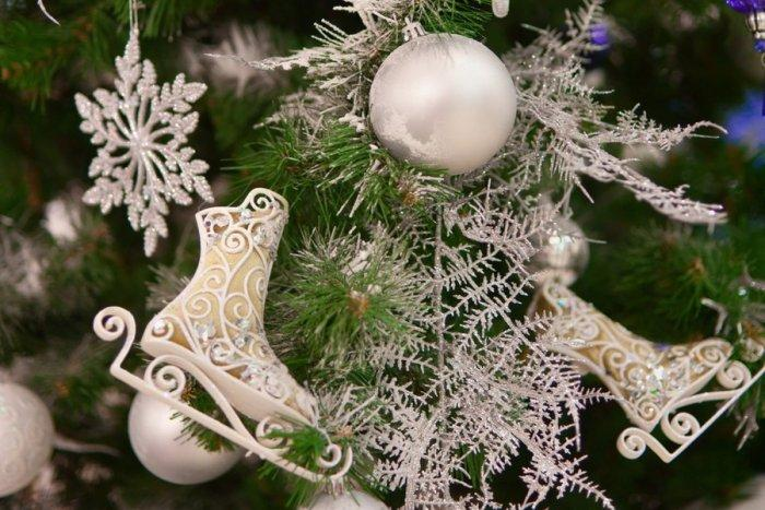 Christmas ornament - snowflakes - on a green tree