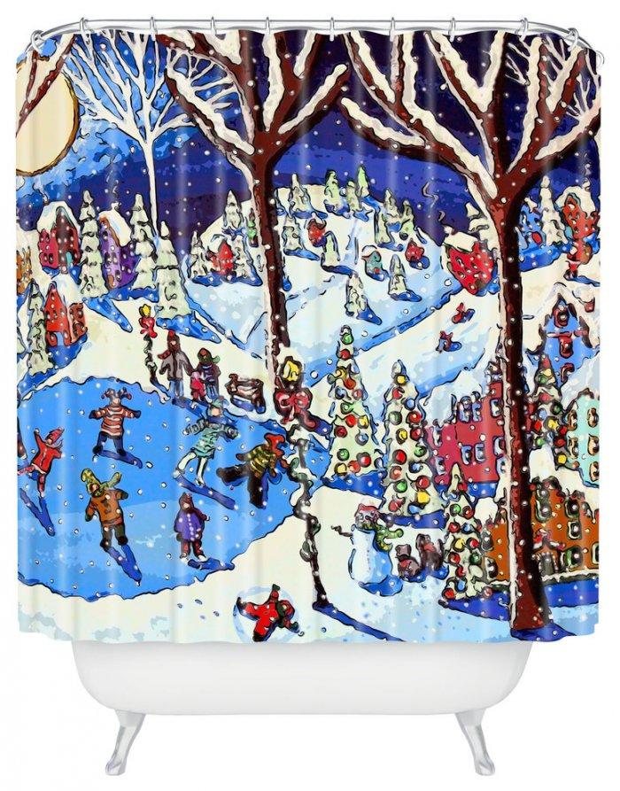 Christmas shower curtain - with snowy theme
