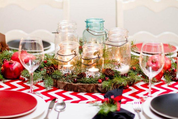 Christmas table with jarrs - placed as table centerpiece