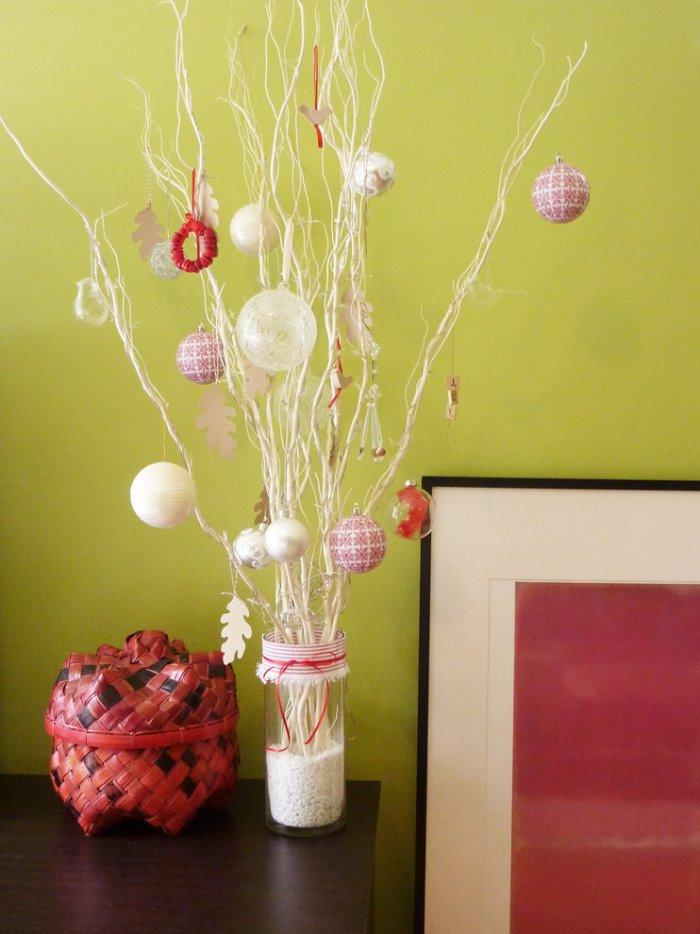 Christmas tree made of brances - with colorful balls