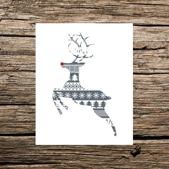 Christmas wall art - winter deer