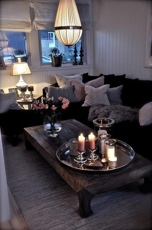 College living room 13 - with black sofas and rustic table
