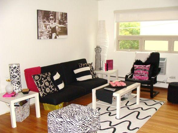 college living room 3 with modern white rug