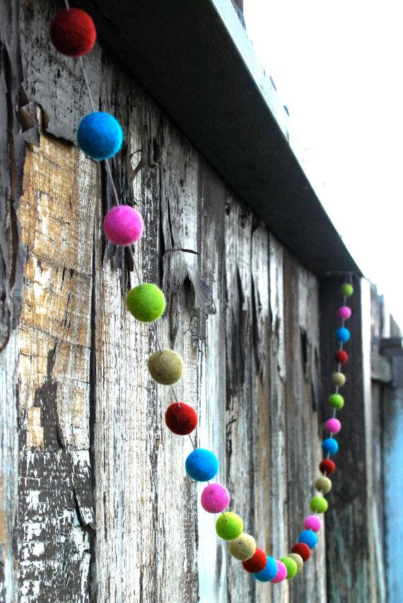 Colorful Christmas garland - balls of fabric