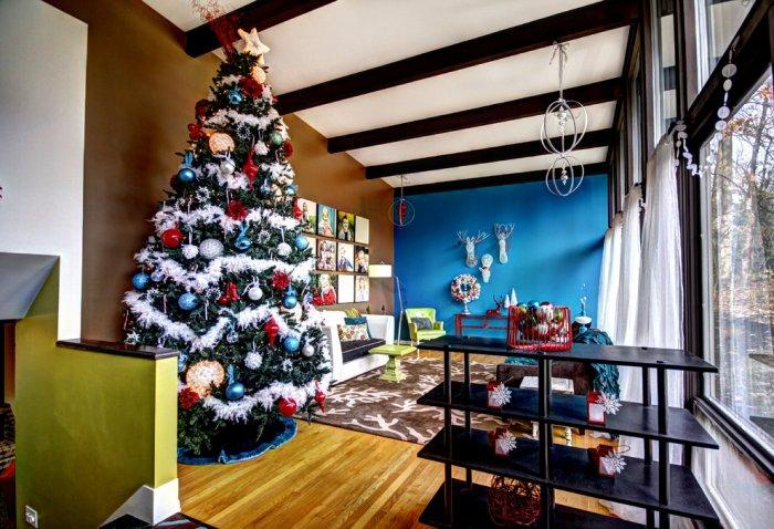 Colorful Christmas tree - inside a mid-century modern home