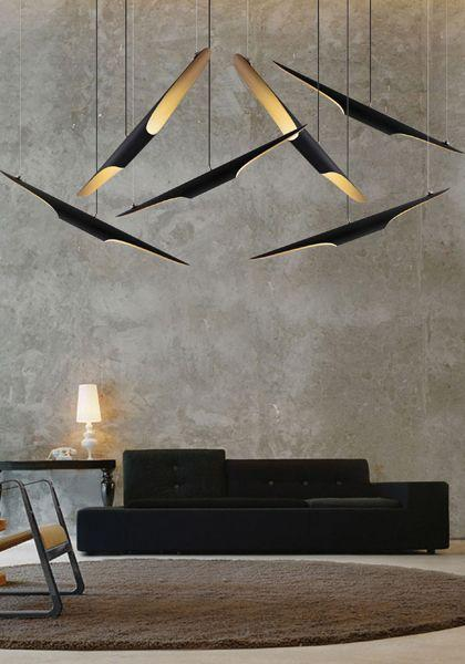 Concept contemporary pendant - inside a raw living room
