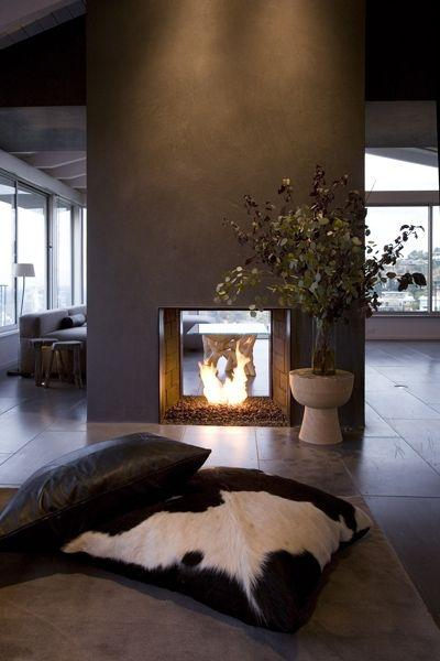 Contemporary fireplace decorating idea 2 - with decorative tree