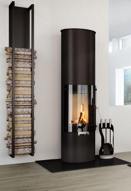 Contemporary fireplace decorating idea 3 - with wood pieces rack