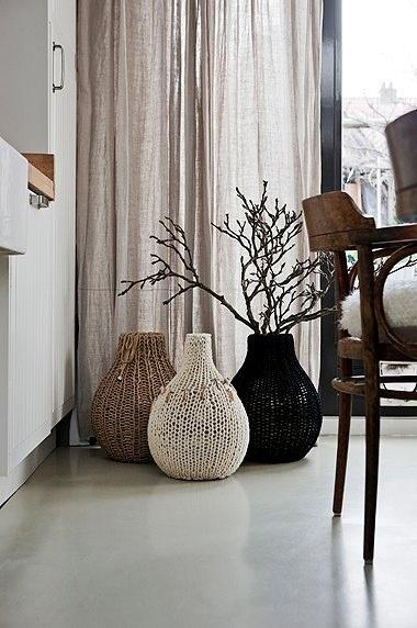 Contemporary floor vase 1 - with wicker design