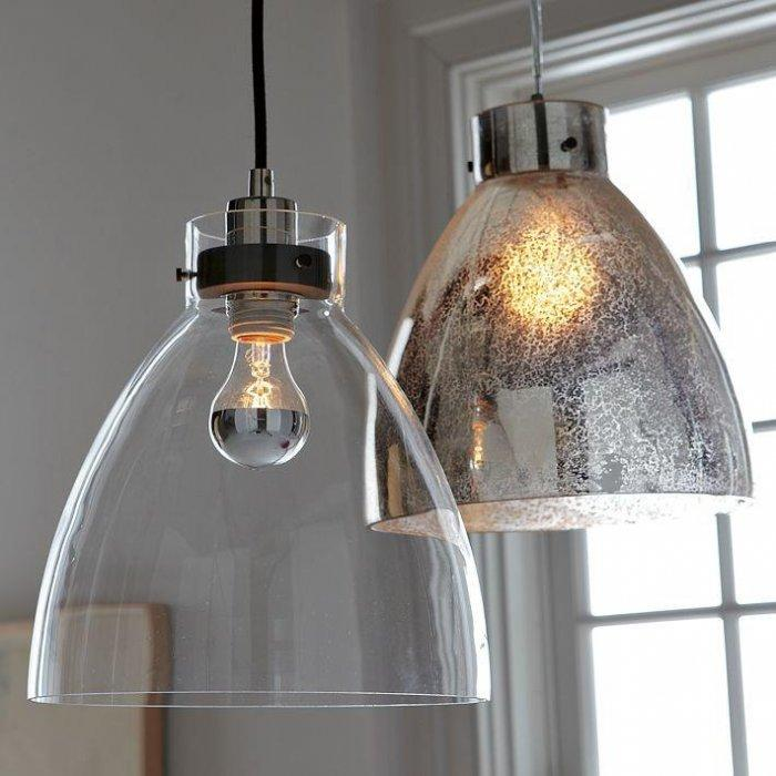 Contemporary industrial pendant - with glass shade
