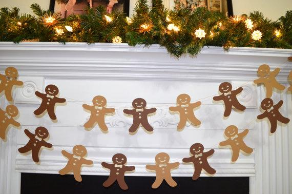 Cookie man Christmas garland - on the fireplace mantel