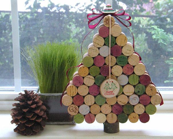 Cork Christmas tree - made of colorful corks