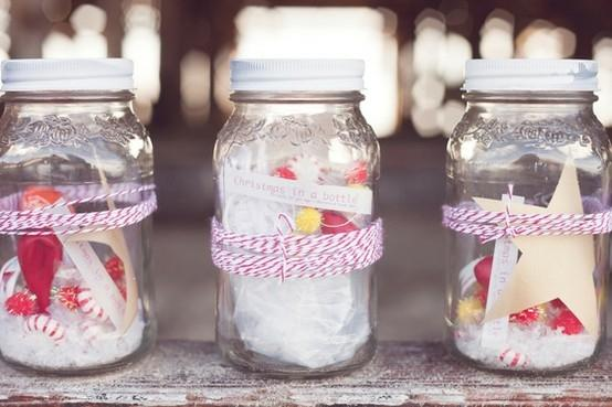 Creative Christmas jars - with white and red wibbons