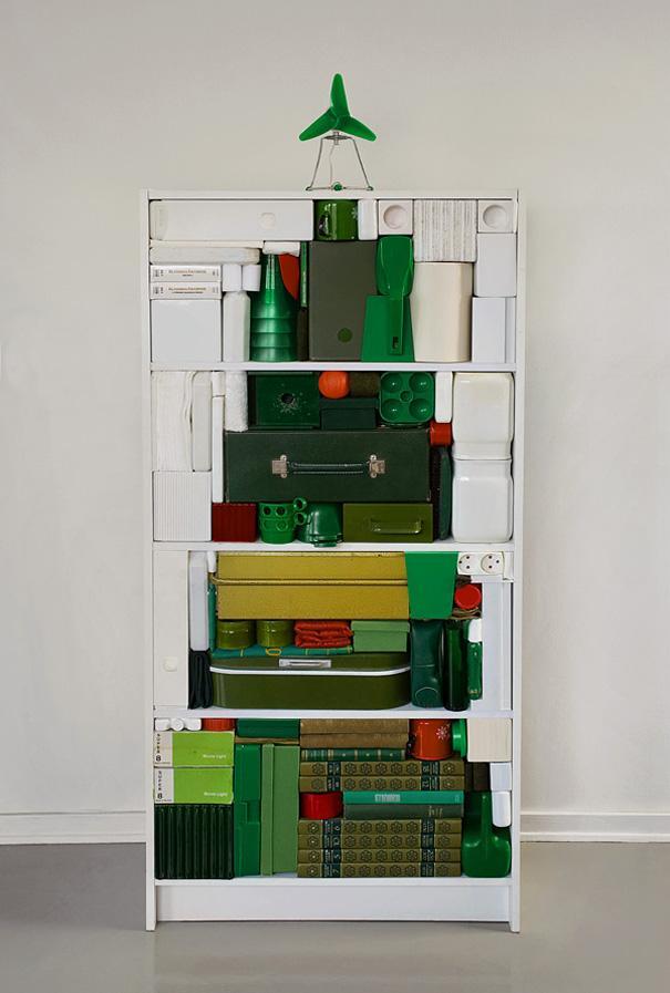 Creative Christmas tree - made of green items