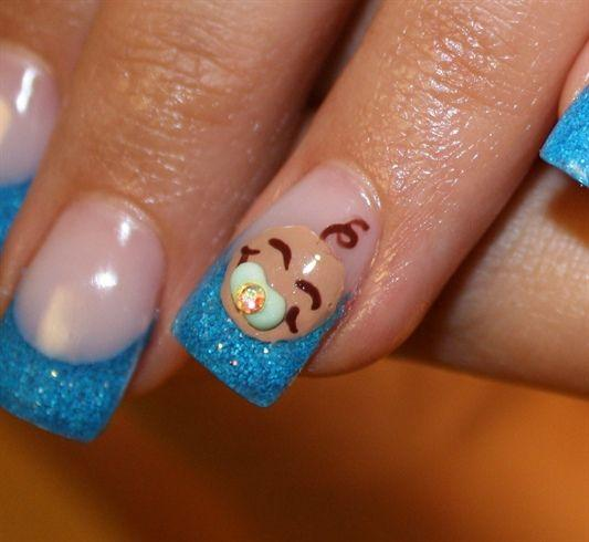 Creative baby shower nails - with baby face