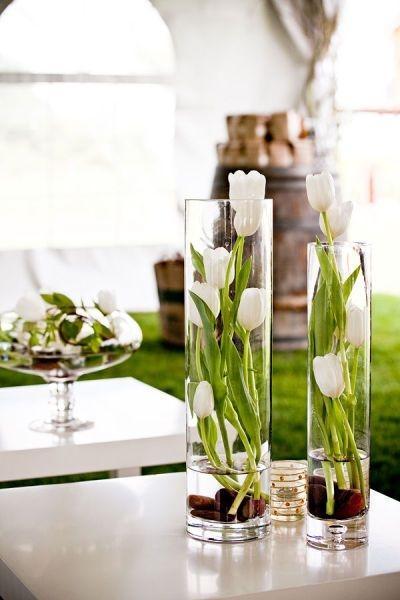 Creative vase 13 - with white tulips